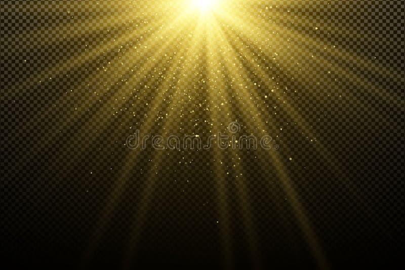 Guld- ljus effekt på en mörk genomskinlig bakgrund Att glo bokeh Guld- magiska strålar Ljus explosion solljus Jullig
