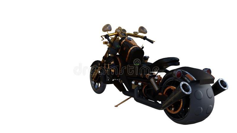 Guld- ljus för ovanlig motorcykel som skapas från icke-standard material stock illustrationer