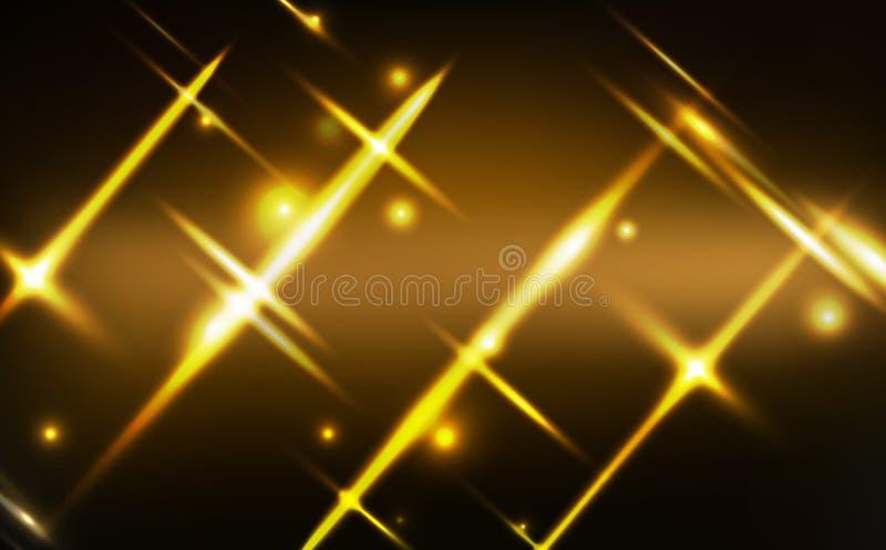 Guld- ljus glödande effektneonbakgrund, beröm, jul, vintersäsong, skinande festival för stjärnapartiklar, ljus rörelse stock illustrationer