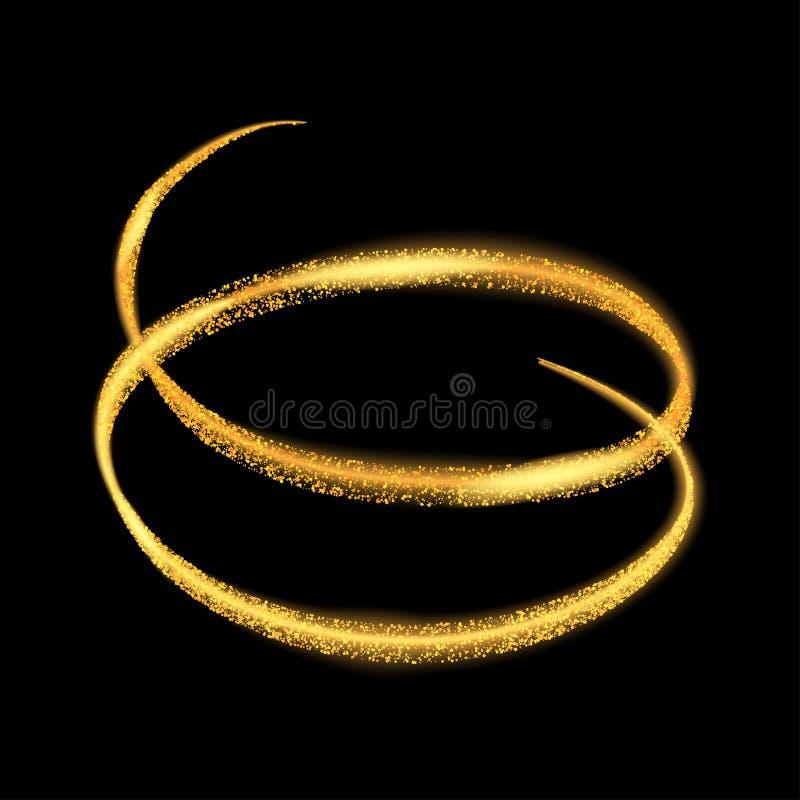 Guld- ljus slingacirkel för vektor För brandcirkel för gult neon glödande spår Blänka magisk gnistrandevirveleffekt transparen på vektor illustrationer