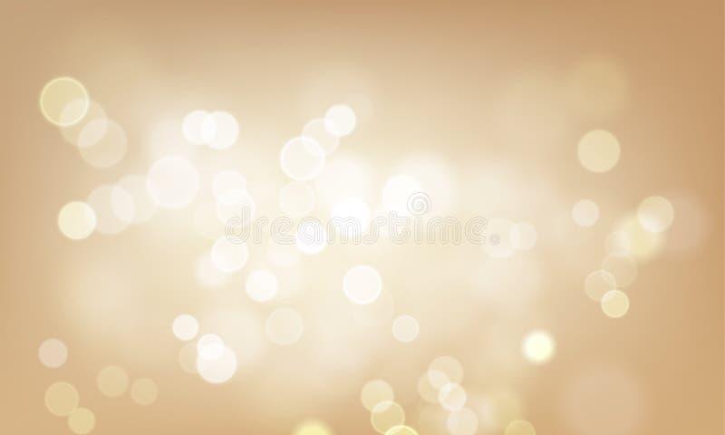 Guld- ljus suddighet blänker eller moussera defocused vektorbakgrund stock illustrationer