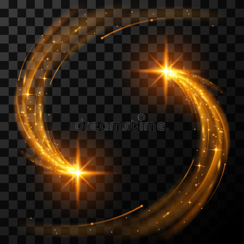 Guld- ljusa stjärnor royaltyfri illustrationer
