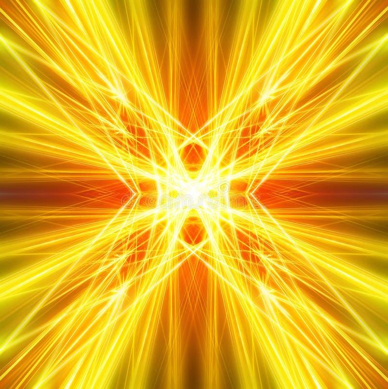 Guld- ljusa strålar med grungebeståndsdelar vektor illustrationer