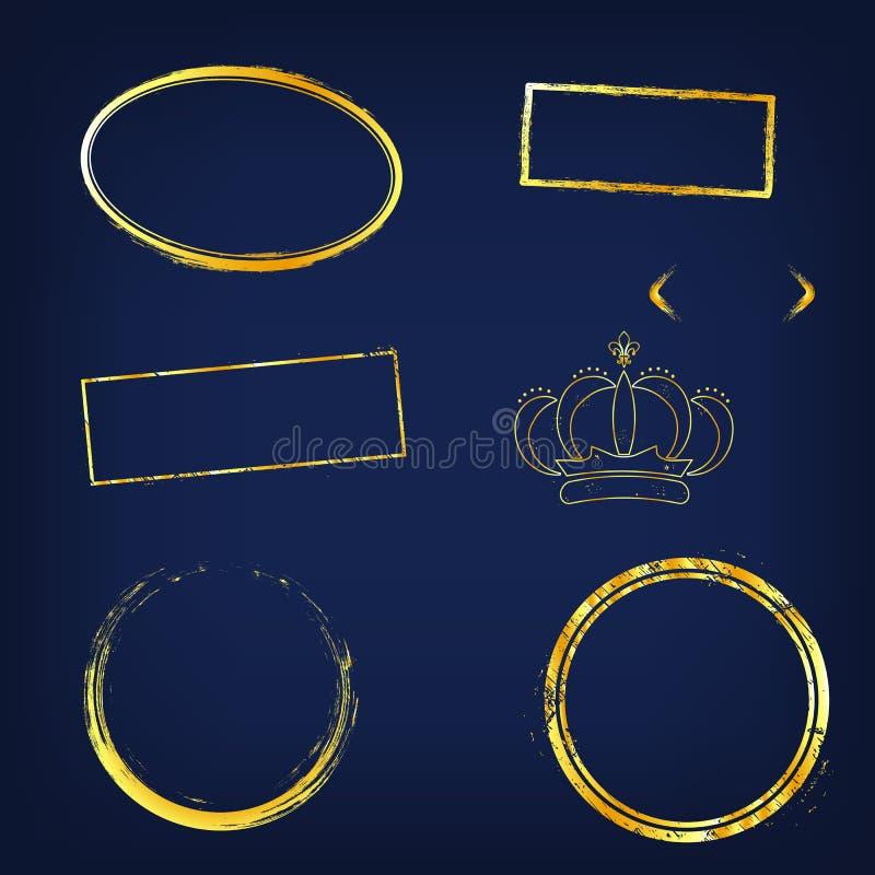 Guld- ljusramar och beståndsdelar Guld- ljusa ramar på mörker - blå bakgrund stock illustrationer
