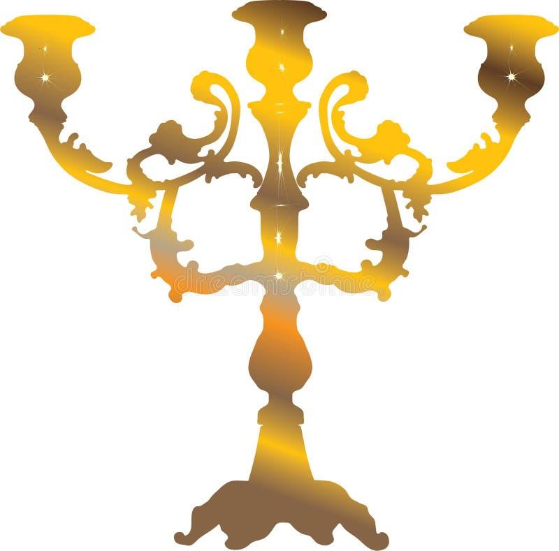 guld- ljusstake stock illustrationer