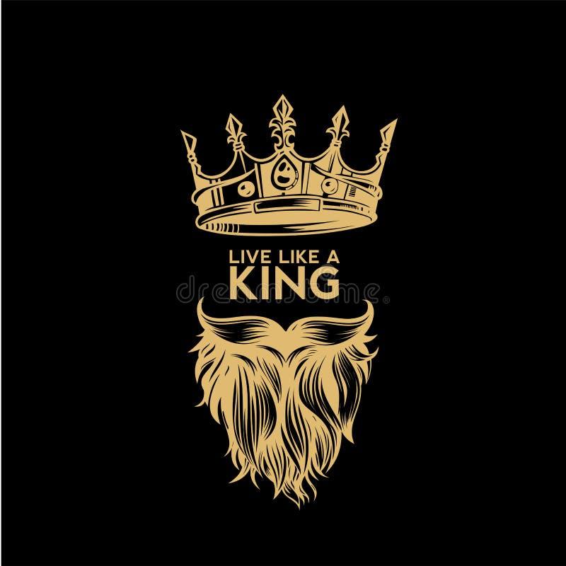 Guld- logo av den krona-, mustasch- och skäggvektorillustrationen royaltyfri illustrationer