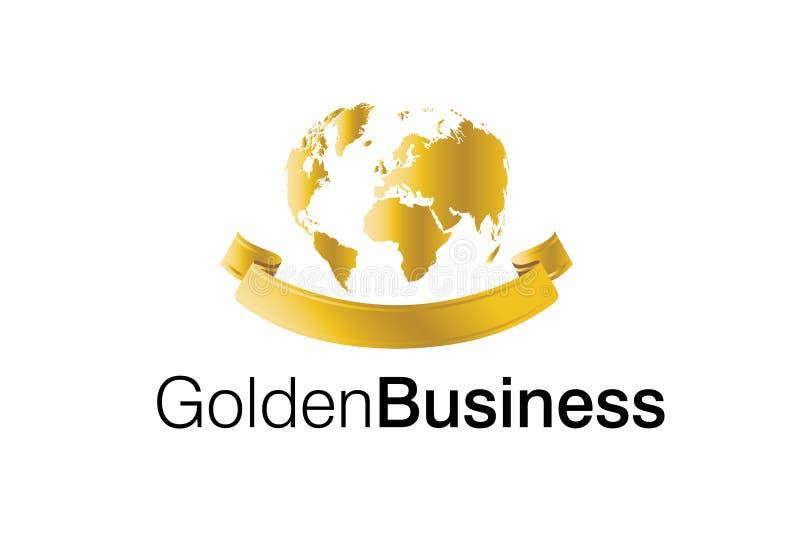 guld- logo för affär stock illustrationer