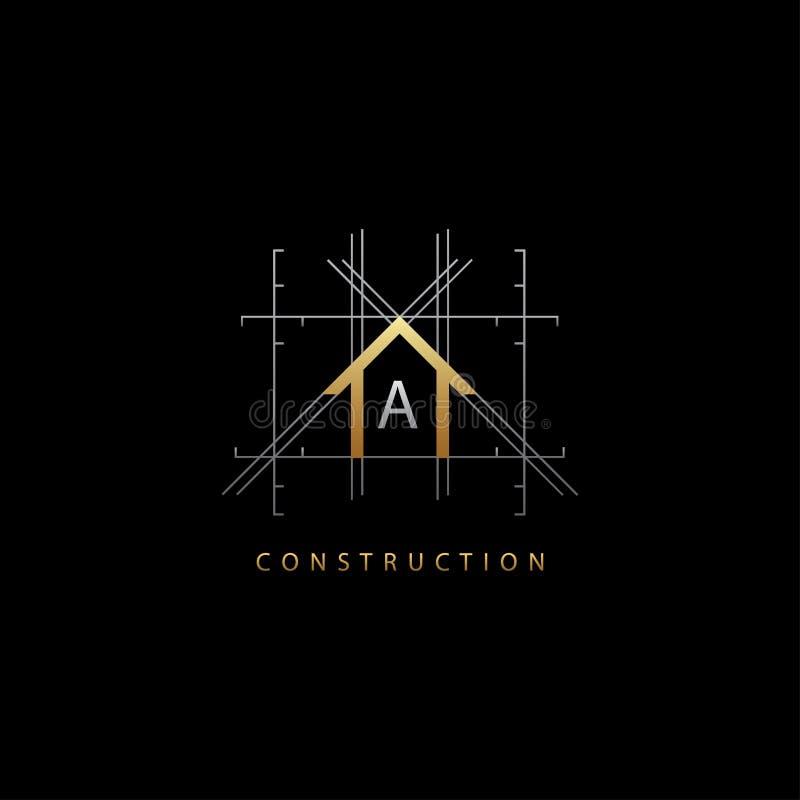 Guld- logo för bokstav för husbegrepp A vektor illustrationer