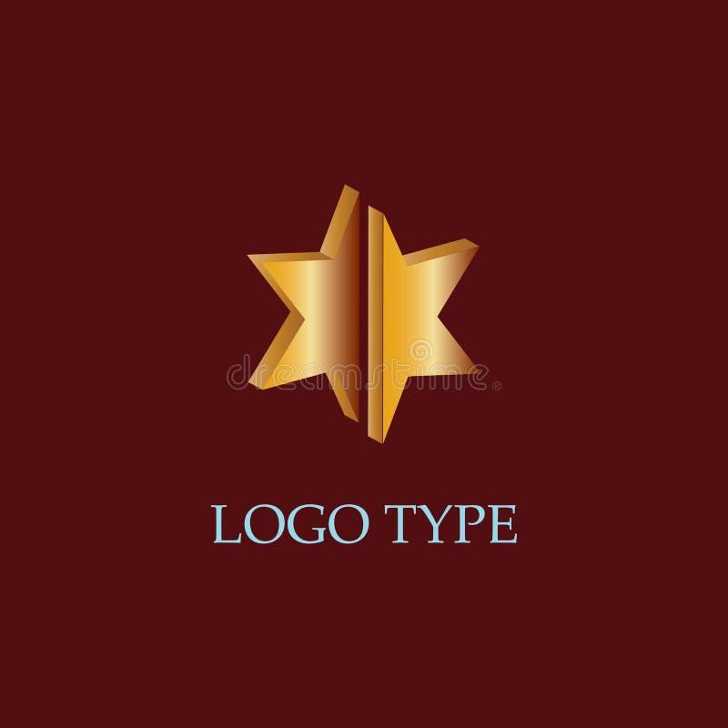Guld- logo för stjärna 3d royaltyfri illustrationer