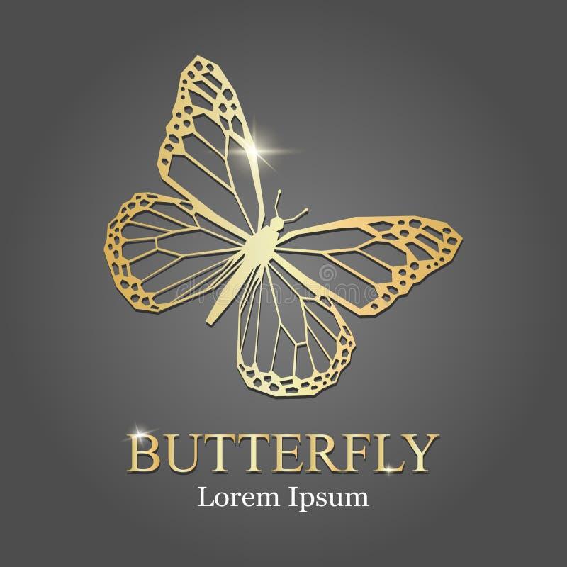 Guld- logo Guld- fjärilskontur abstrakt logo för element för bakgrundsblackföretag stock illustrationer