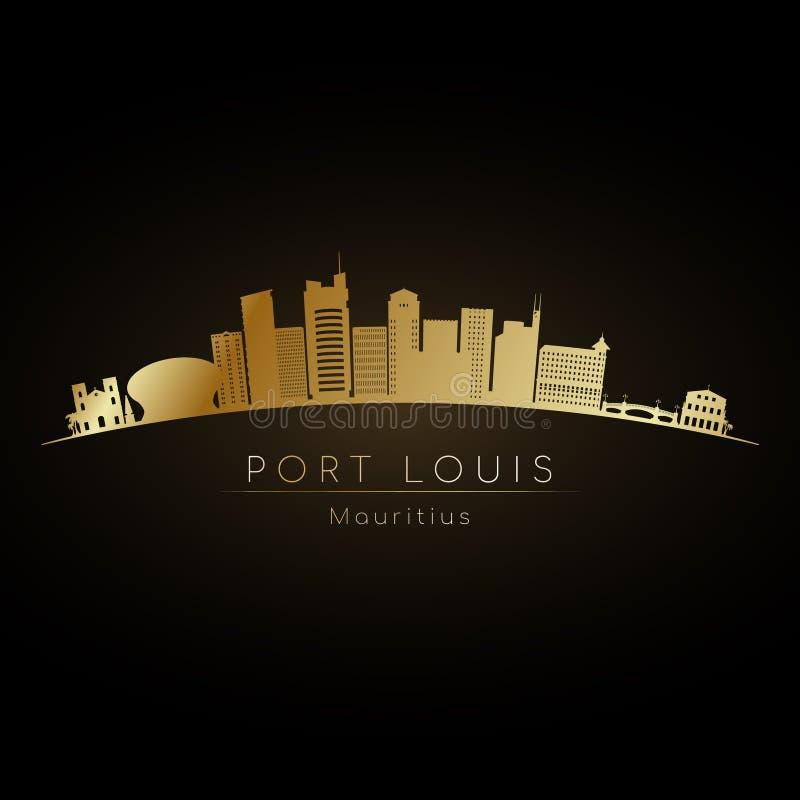Guld- logoPort Louis horisont vektor illustrationer