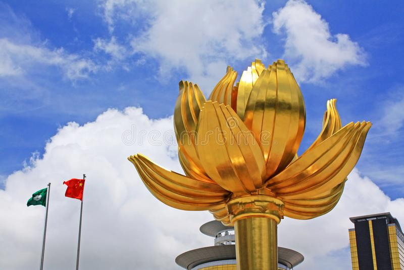 Guld- Lotus Square, Macao, Kina royaltyfri fotografi