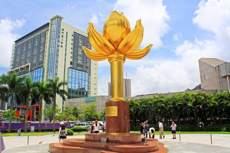 Guld- Lotus Square, Macao, Kina fotografering för bildbyråer