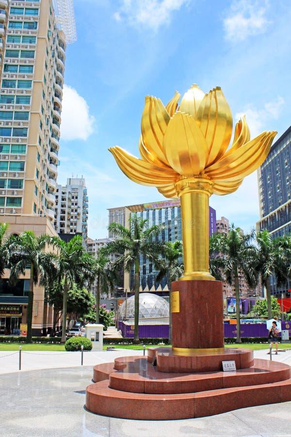 Guld- Lotus Square, Macao, Kina royaltyfri bild