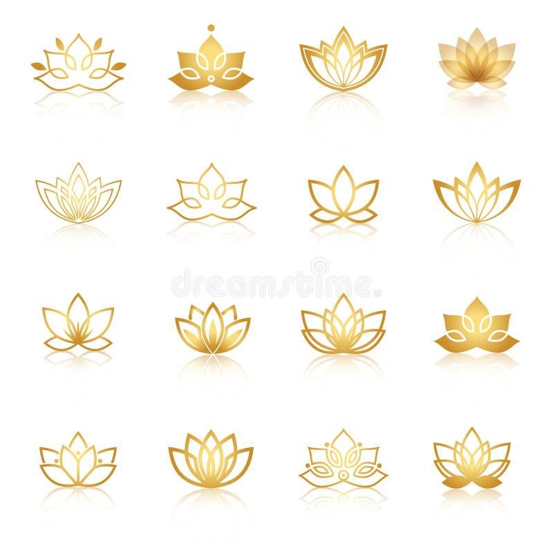 Guld- Lotus symbolsymboler Blom- etiketter för vektor för wellnessen ind