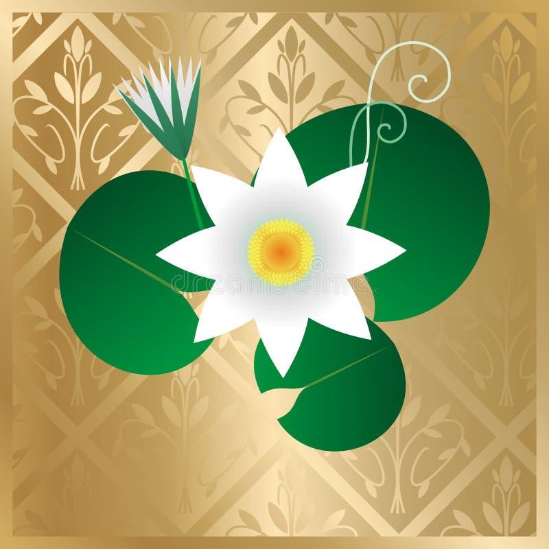 guld- lotusblommavektor för kort royaltyfri illustrationer