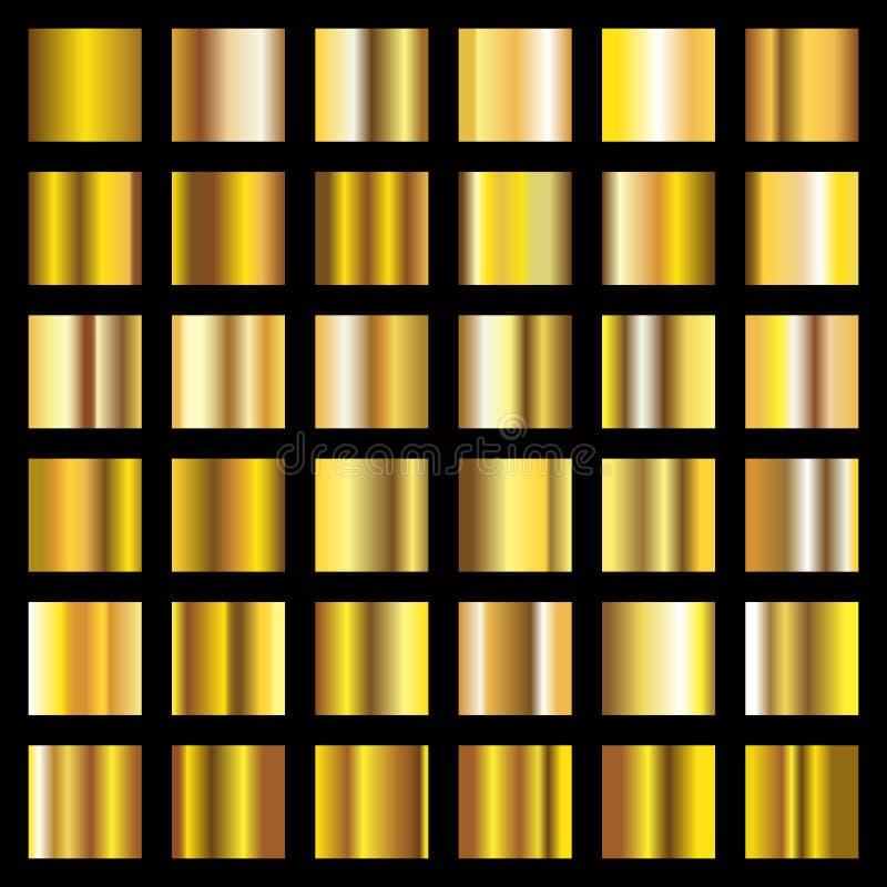 Guld- lutning Guld- metall kvadrerar vektorsamlingen vektor illustrationer
