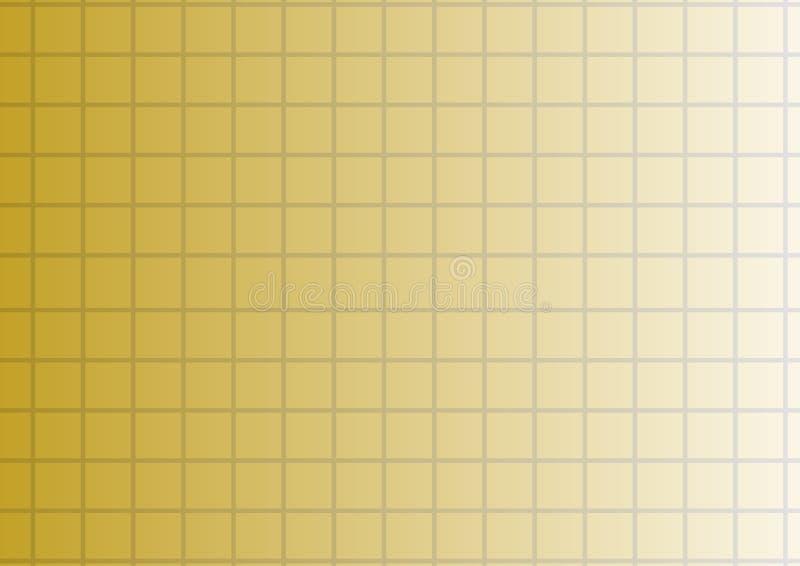 Guld- lutningbakgrund för vektor med fyrkanter eller celler stock illustrationer