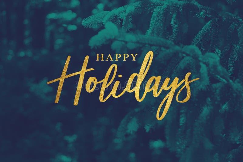 Guld- lyckliga ferier skriver med Duotone vintergrön filialbakgrund stock illustrationer