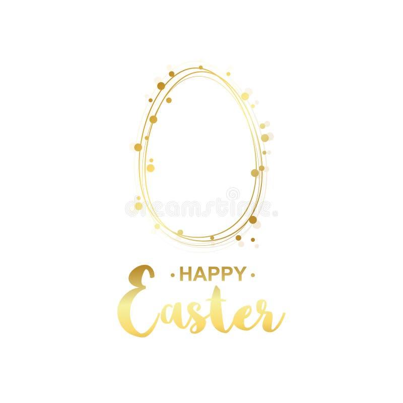 Guld- lyckligt easter kort Guld- äggmall royaltyfri illustrationer