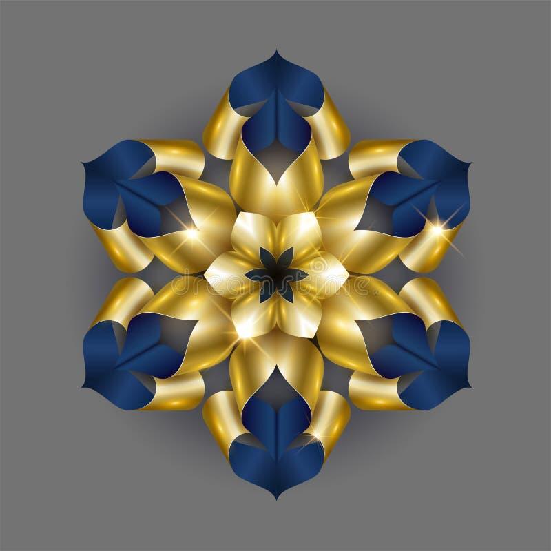Guld- lyxig bakgrundsvektor Blom- modelldesign för guld- snöflinga Blom- mandalaprydnad vektor illustrationer