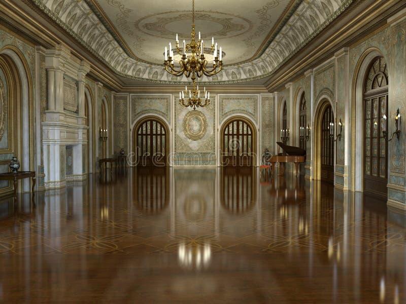 Guld- lyxiga storslagna Hall Interior vektor illustrationer