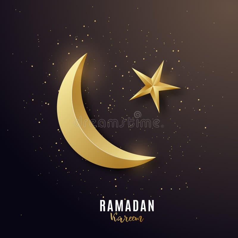 Guld- lyxigt halvm?nformig 3d H?lsa banret p? Ramadan Kareem royaltyfri illustrationer
