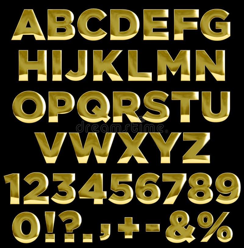 Guld märker och numrerar alfabet stock illustrationer
