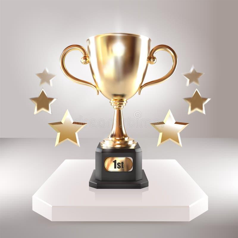 Guld- mästarekopp med stjärnor Realistisk illustration 3D för vektor Mästerskaptrofé Sportturneringutmärkelse seger royaltyfri illustrationer