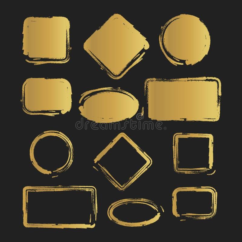 Guld- målad formuppsättning för Grunge tappning också vektor för coreldrawillustration vektor illustrationer