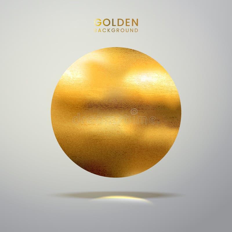 Guld- målarfärgfläckbaner Abstrakt blänka realistisk texturerad rund fläck Guld- målarfärg Vektorillustration av guld- lodisar fö stock illustrationer
