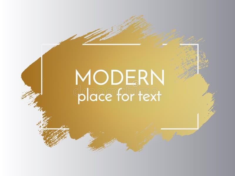 Guld- målarfärgslaglängd för vektor med gränsramen Smutsig konstnärlig desig stock illustrationer