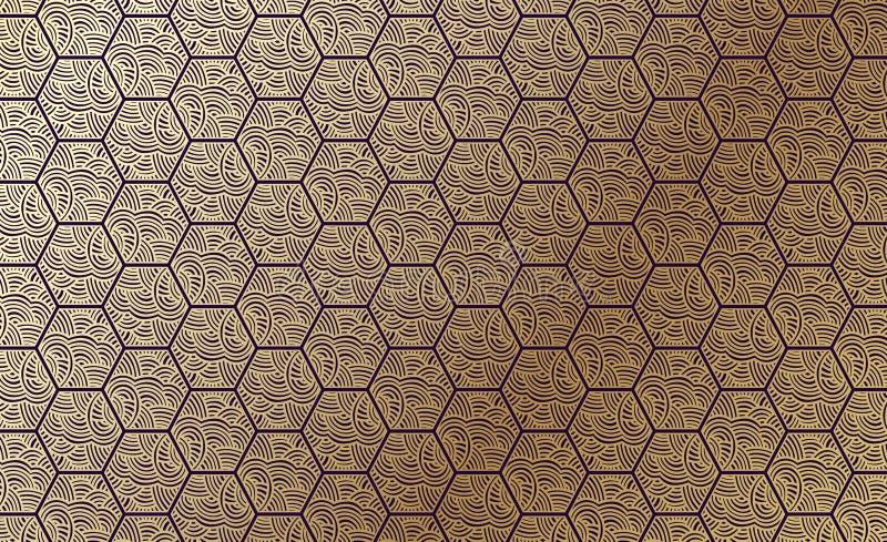 Guld- mönstra royaltyfri illustrationer