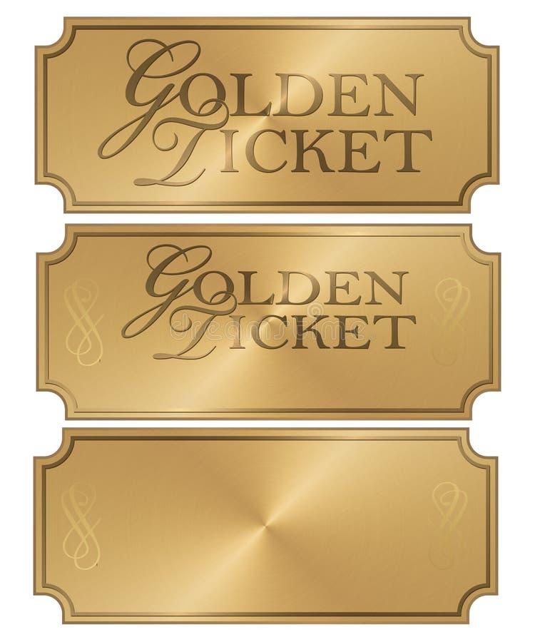 Guld- mall för biljettArt Logo Stub kupong vektor illustrationer