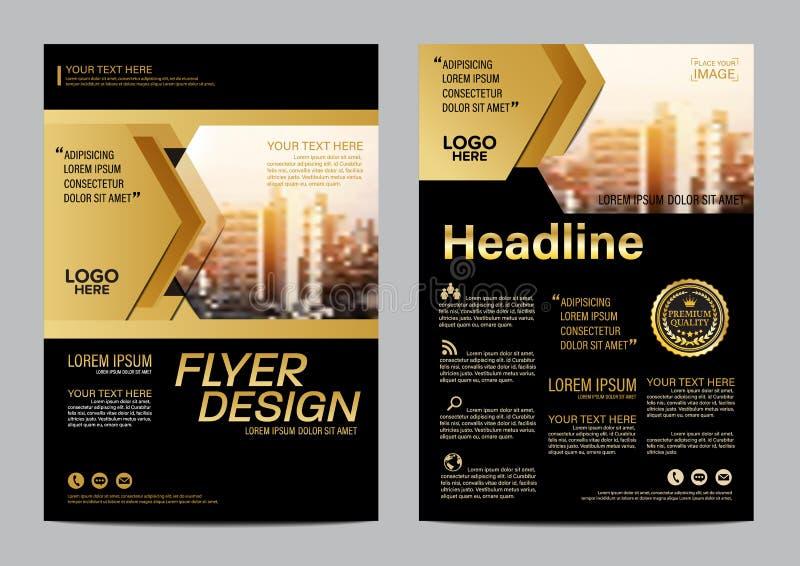 Guld- mall för broschyrorienteringsdesign Bakgrund för presentation för räkning för årsrapportreklambladbroschyr modern illustrat vektor illustrationer