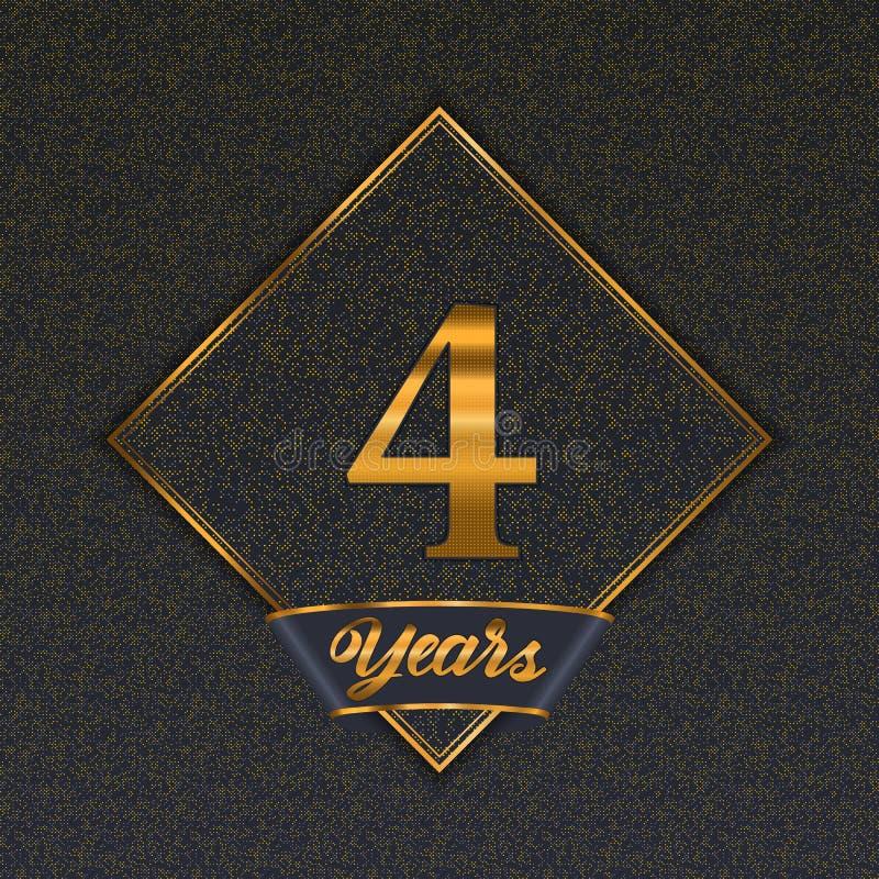 Guld- mallar för nummer 4 royaltyfri illustrationer