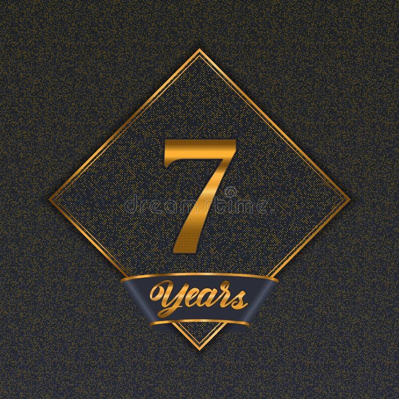 Guld- mallar för nummer 7 royaltyfri illustrationer