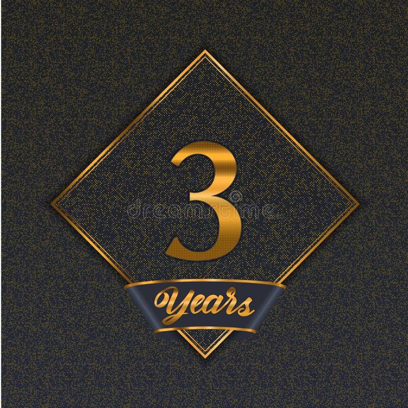 Guld- mallar för nummer 3 stock illustrationer