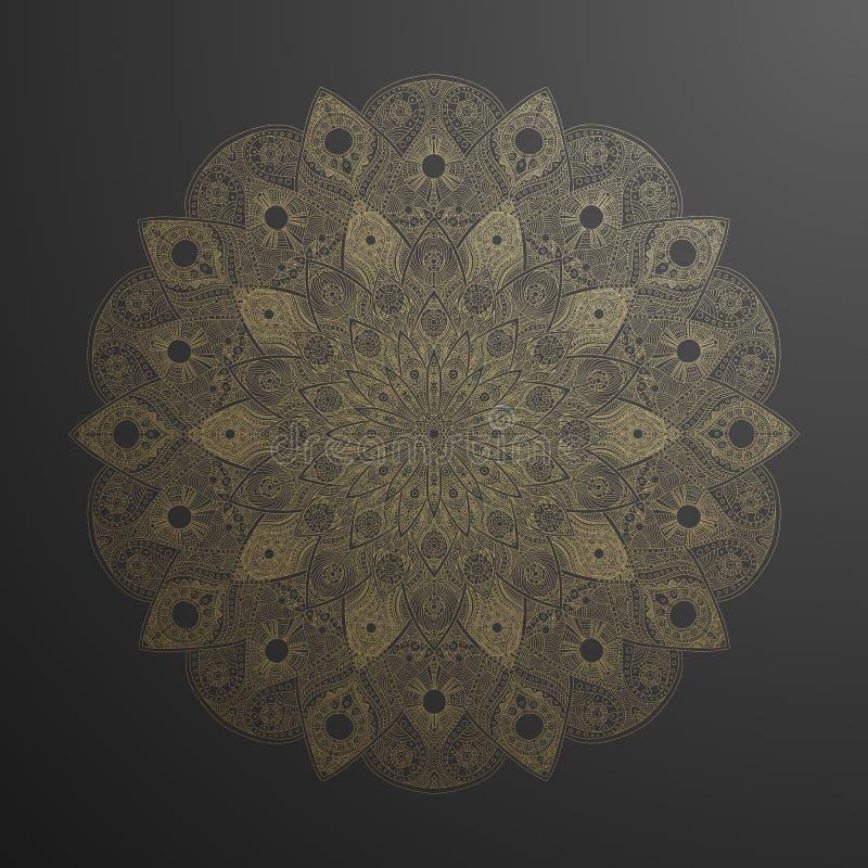 Guld- mandalamodell Abstrakt guld på svart blom- vektorkonst Guld- blomma i indisk bevekelsegrund Lyx sn?r ?t garnering royaltyfri illustrationer