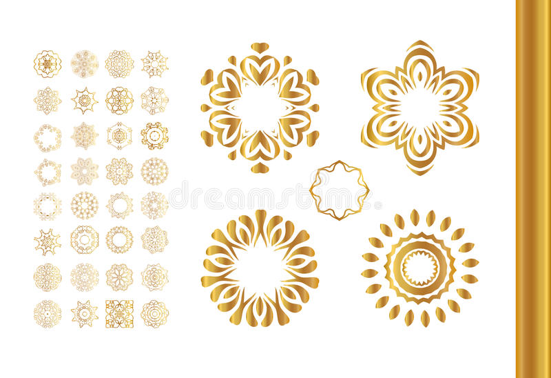 Guld- mandalauppsättning Guld- modell som isoleras på bakgrund royaltyfri illustrationer
