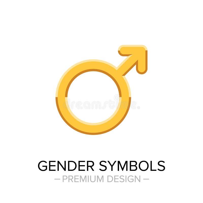 Guld- manligt genussymbol som isoleras på vit bakgrund stock illustrationer