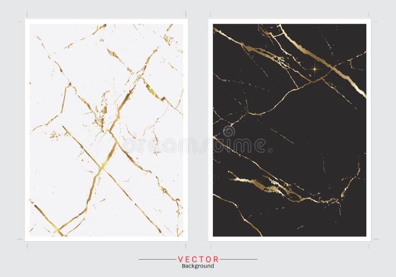 Guld- marmorräkningsbakgrund, fastställd mall för vektor stock illustrationer