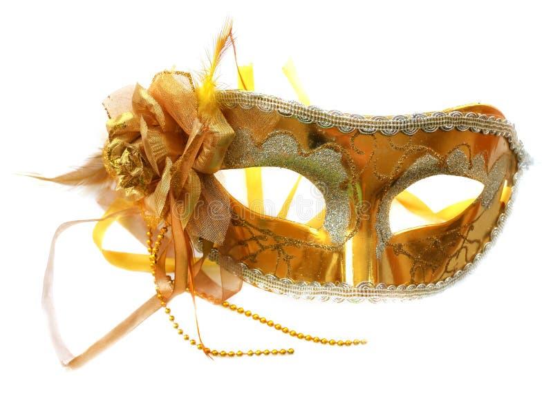 Guld- maskering för karneval eller teater arkivbild