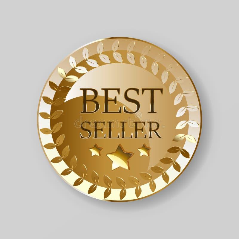 Guld- medalj för bästa säljare Guld- utm?rkelseemblem stock illustrationer
