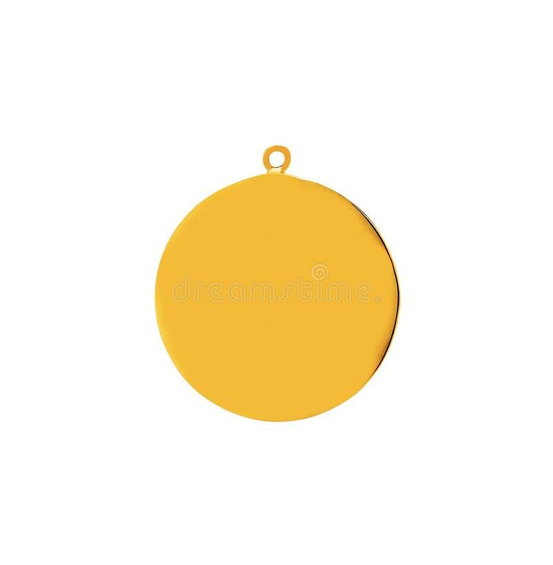 Guld- medaljong på en guld- kedja royaltyfria foton
