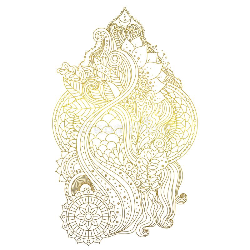 Guld- mehendiprydnad royaltyfri illustrationer