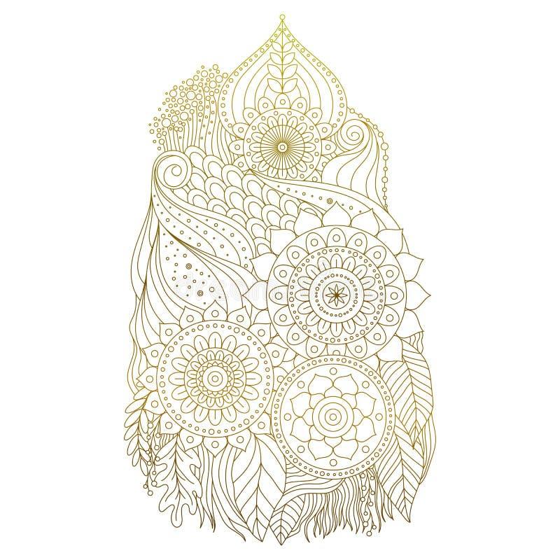 Guld- mehndiprydnad stock illustrationer