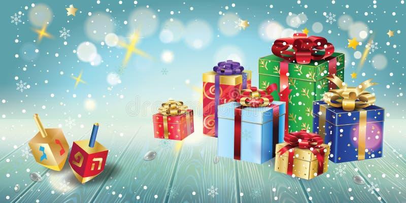 Guld- menoror för lycklig Chanukkah, gåvor och gåvor, trädreidel royaltyfri illustrationer