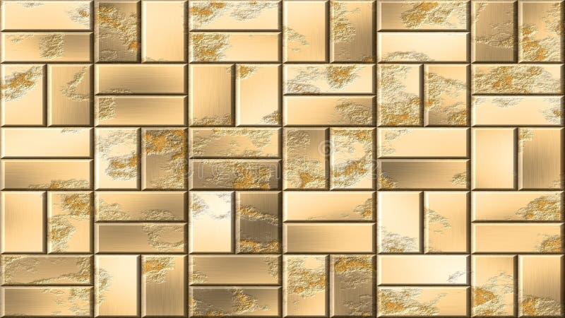 Guld- metall panels sömlös modellbakgrund - metalliska tegelstenar på väggen stock illustrationer