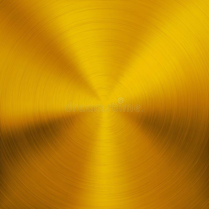Guld- metallbakgrund med rund textur vektor illustrationer